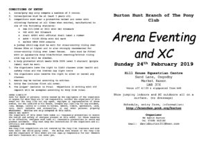 Burton PC Arena Eventing and XC 2019 Schedule » Burton Hunt