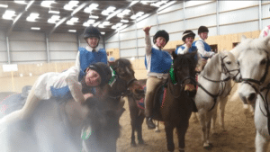Our Mounted Games team at a PC friendly at Onley. There was some fantastic riding and they came 3rd in the B Final. Well done team!