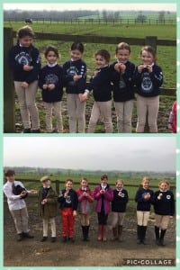 Some of our Junior members with their Feed Achievement badges at a recent Hslf Day Junior Rally.