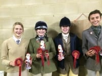 VWH Alex Norris, Hattie Hansard, Lucy Kernon, Miri King the VWH Christmas Puddings who were 3rd in the 1m05cm.  Lucy was 8th individually and Alex was 10th individually. Smurf and Nibby jumped faultless double clears