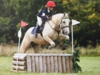 Heidi on the young pony, Paddy at the area 9 mini/junior ODE at Rabson