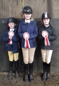 Junior Horse and pony care team. Zach Farnsworth, Hannah and Lucy Jones