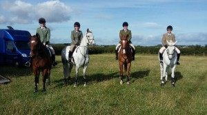 Issie Andrew, Sarah Bartlett, Jessica Crompton pass their B Test Riding.  (also pictured Alex Tweddle from the Braes PC)